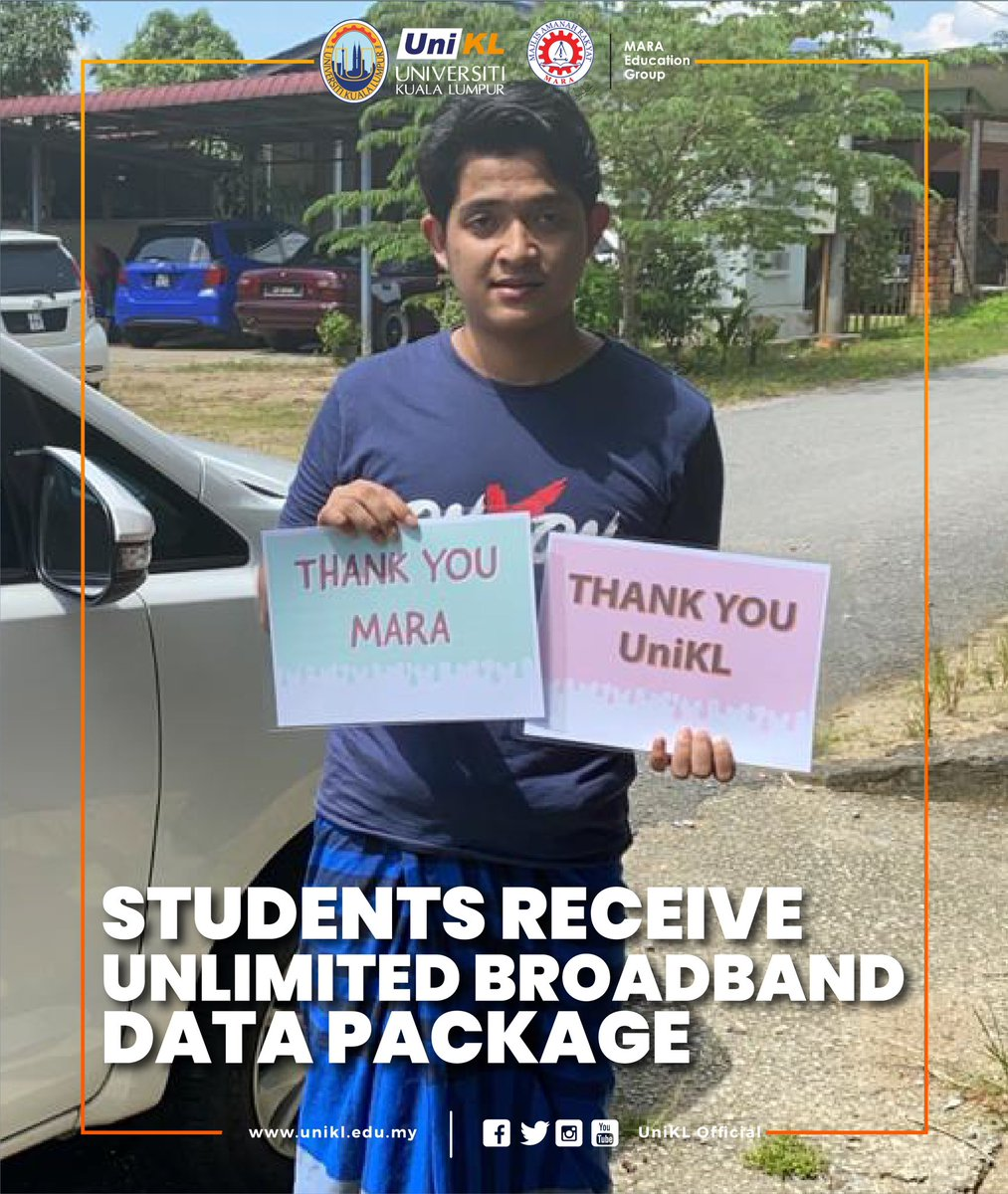 A total of 8,541 Universiti Kuala Lumpur students will receive free unlimited broadband data package sim cards within the next three days under the UniKL Beyond-C Business Challenge Plan. Read more at unikl.edu.my/students-recei… #UniKLDNA #UniKLnProud #WeAreUniKL #StrongerTogether