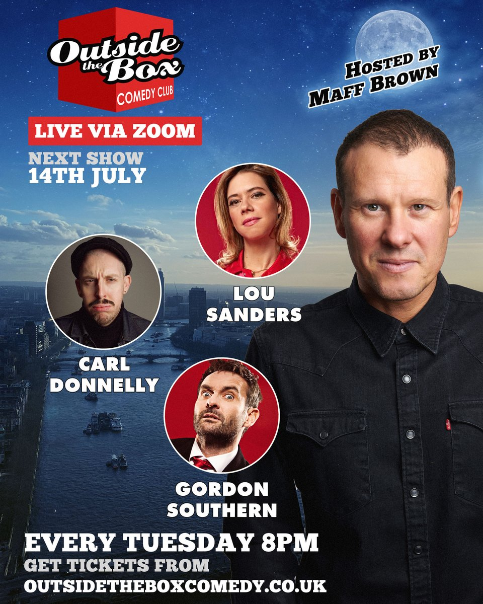 RT @OTBcomedy TONIGHT! Live comedy via zoom and a line up thats belting!! 8pm.   @CarlDonnelly  @LouSanders  @GordonSouthern  & Nick Page!  Get tickets here: https://t.co/AmwmVMXrwU