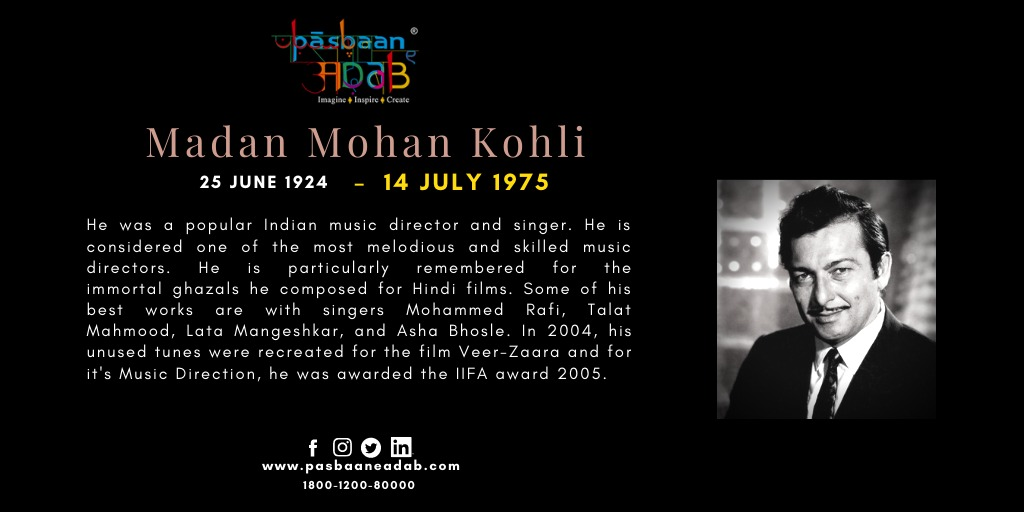 #artistsfromindia #MadanMohan #musicdirector #singer #composer #ghazals #hindifilms #veerzaara #artist  @quaiser_khalid @SrBachchan @Javedakhtarjadu @Irshad_Kamil @tauseef_akhtar @ashabhosle @mangeshkarlata @aapkadharam @iamsrk @realpreityzinta @DollyBindra @alokioc #pasbaaneadabpic.twitter.com/8dCjIPbWUQ