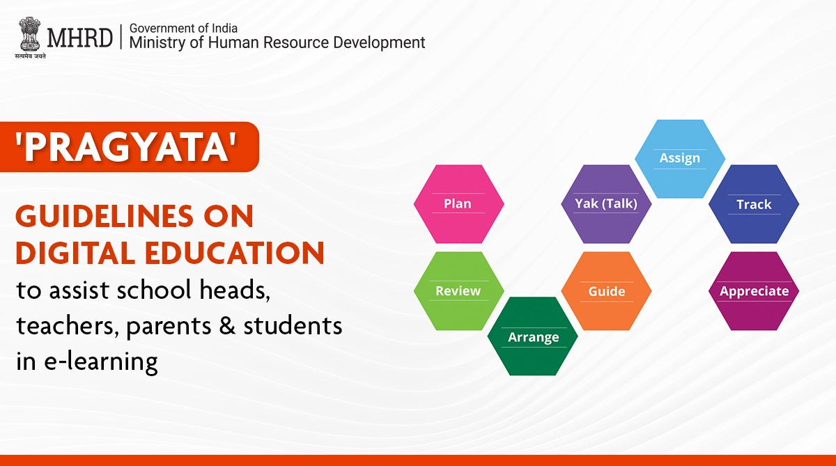 Introducing 'PRAGYATA': Guidelines on #DigitalEducation for school heads, teachers, parents, and students containing recommended screen time for children, tips on coping with mental/physical stress during #DigitalLearning & more. Stay tuned for more details. #PRAGYATA https://t.co/O5uq01R8Av