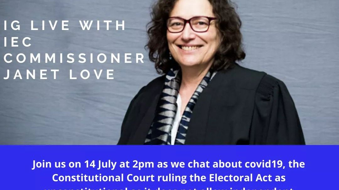 In case you missed it, Commissioner Janet Love spoke to @MVC_SA earlier today about #COVID19SA, #ConCourt ruling on independent candidates contesting NPEs, & party funding. See Instagram video by @myvotecountssa https://t.co/dXr2OoBKkU https://t.co/4aCBIgGpX3