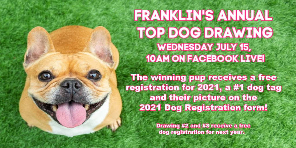 Facebook LIVE: Franklin's Top dog drawing - July 15 - 10 AM