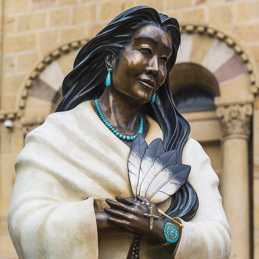 """Kateri Tekakwitha, informally known as """"Lily of the Mohawks,"""" was the first #NativeAmerican of North America to be canonized. She is also the patron saint of #ecology. We honor her legacy as an Algonquin–Mohawk laywoman by listening to the cry of creation and committing to act. https://t.co/D84ijjZ625"""