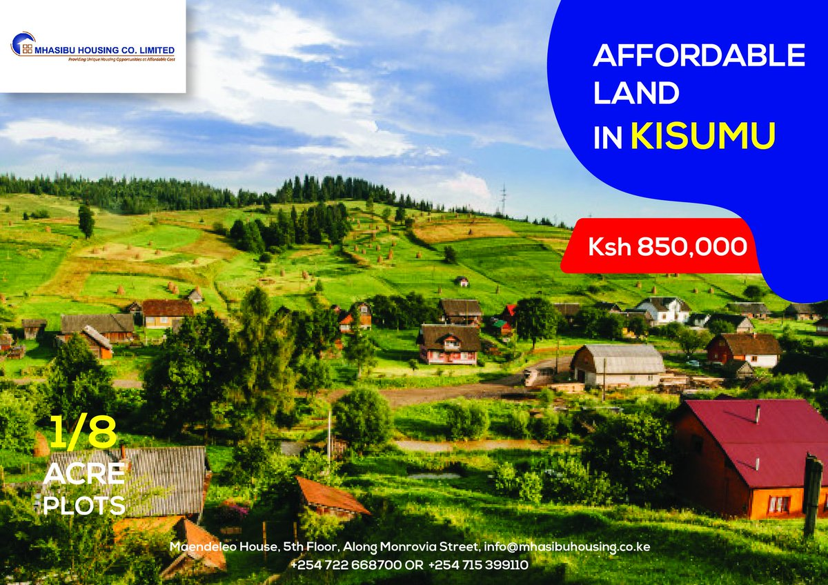 Don't come last! Contact us today to book our prime plots in Riat Hills, Kisumu County. A serene location fit for home development, with nice views and close proximity to amenities. A flexible payment plan is now available, T&Cs apply. Visit  http:// bit.ly/32hMcca     for details.<br>http://pic.twitter.com/LvYSjgkcIh