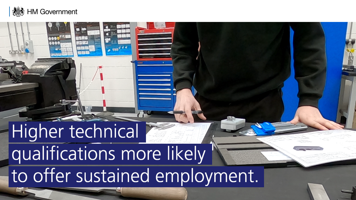Higher technical qualifications at level 4/5 are also more likely to offer sustained employment than people with their highest qualification at level 3. #FurtherEducation https://t.co/xrAfCY55PU