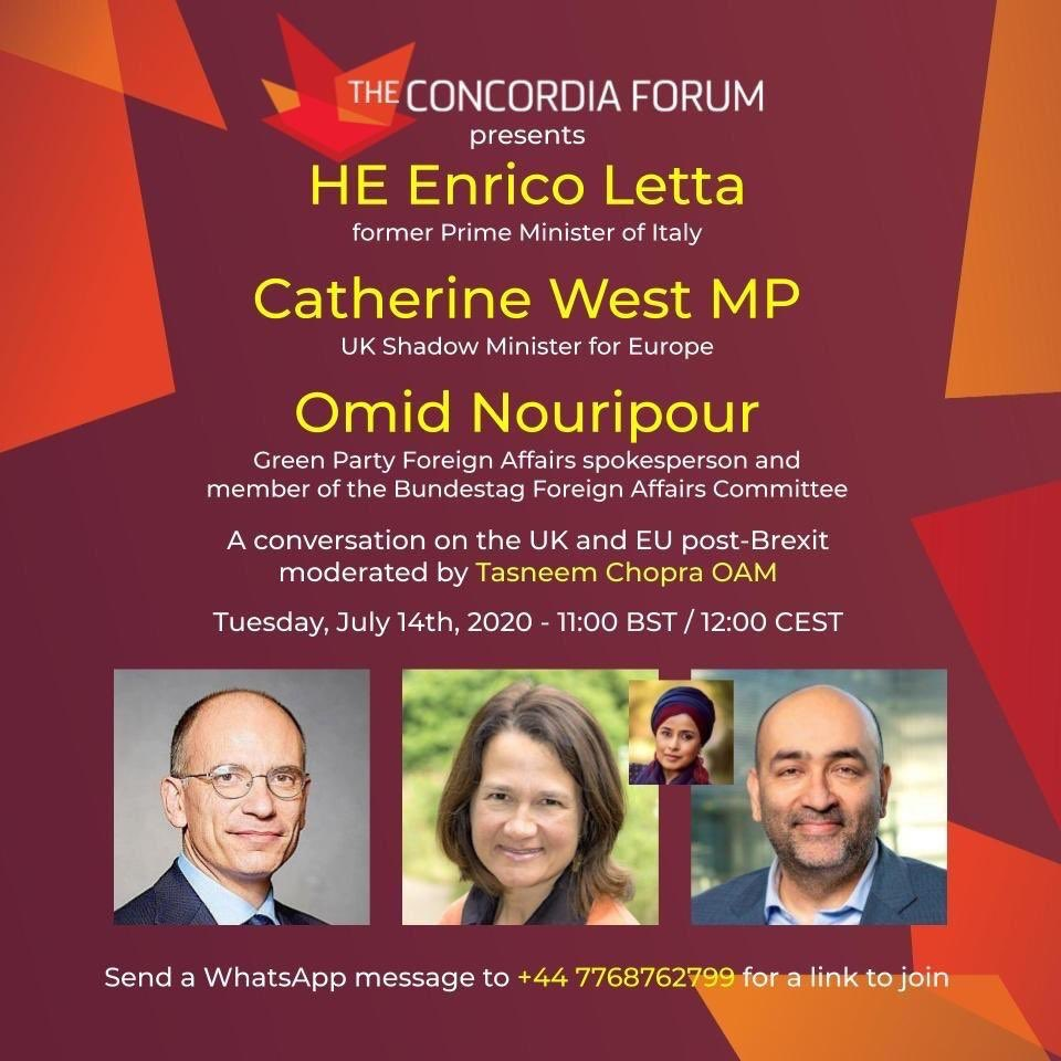 I am on the questioning panel for a conversation on the UK and EU post-Brexit by @concordiaforum featuring @EnricoLetta , former PM of Italy; @CatherineWest1 , UK Shadow Minister for Europe and @nouripour, Green Party Foreign Affairs Spokesperson. Join me today at 12:00 CEST 👇🏼 https://t.co/GlBnzTV5AY