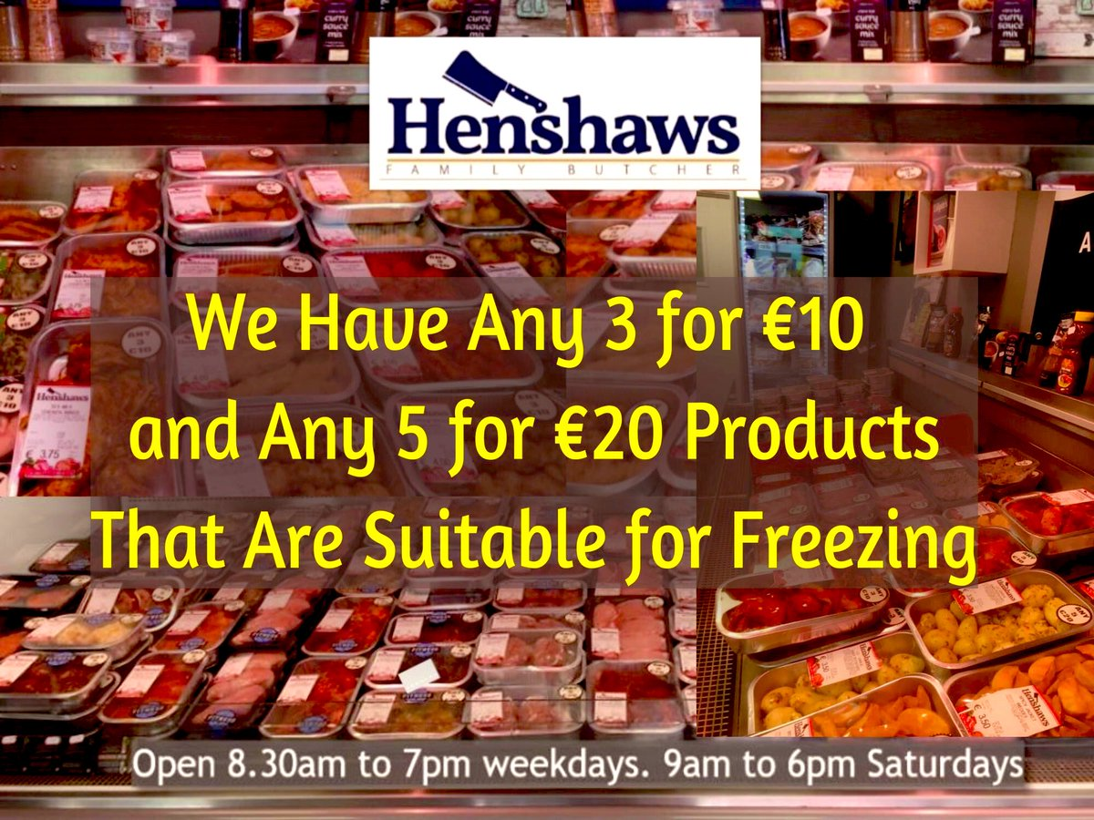 Over 30 Cook-In-Tray meals are prepared by the team from scratch in-store daily. Very handy if you're shopping for neighbours, friends & family. Meal decisions made simple at Henshaws Family Butchers.   Best of luck to tonight's #LouthChat Starbiz #VOTBchoir <br>http://pic.twitter.com/5C5SZyxovD