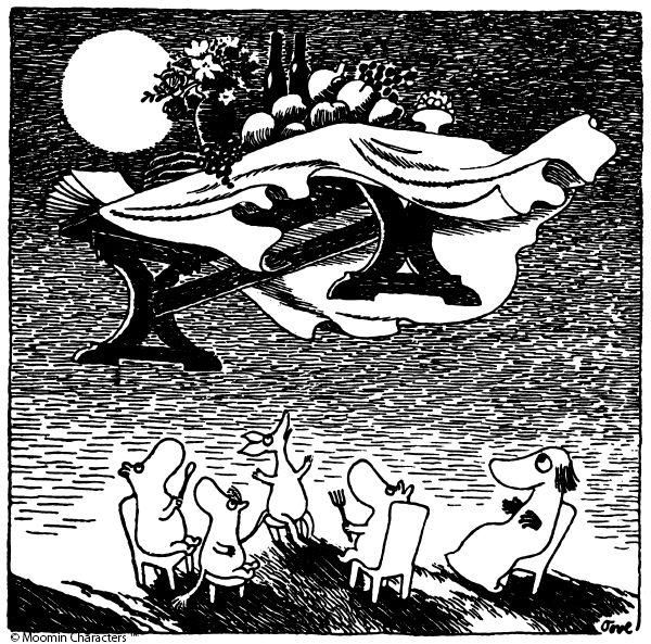 もしも何か一つだけ望みを叶えてもらえるとしたら、何をお願いしますか? パーティーの夜、ムーミン谷にやってきた魔物の飛行おには、ムーミンたちに一つずつ魔法で望みを叶えてくれると言うのです。ムーミントロールは旅の途中の親友スナフキンに、テーブルのごちそうを届けてほしいと願います。