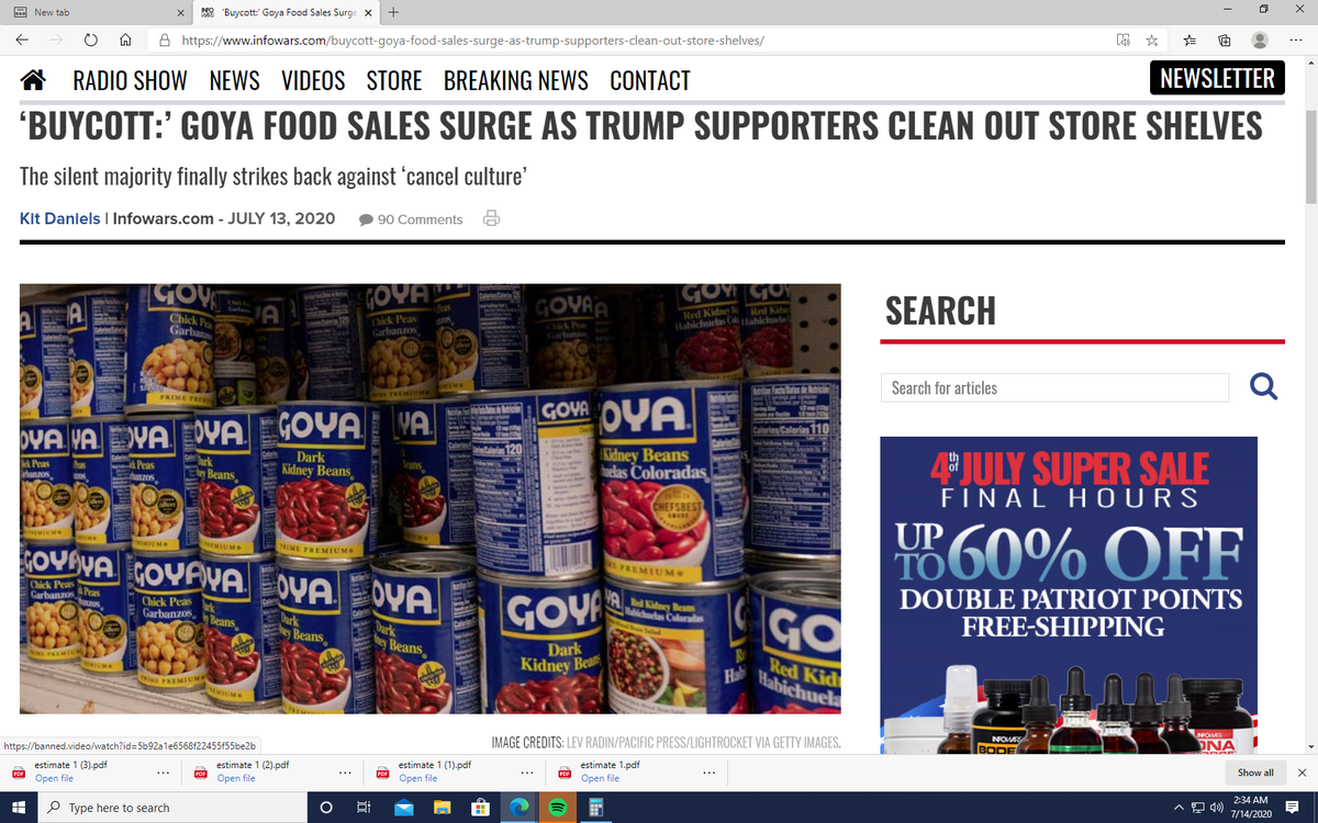 GOYA FOODS Sell Out, sold out  Silent Majority also very HUNGRY  TRUMP 2020  Fake Polls Wrong  Trump WAY ahead  Biden is a box of nails pic.twitter.com/EnqnqR9Wsl