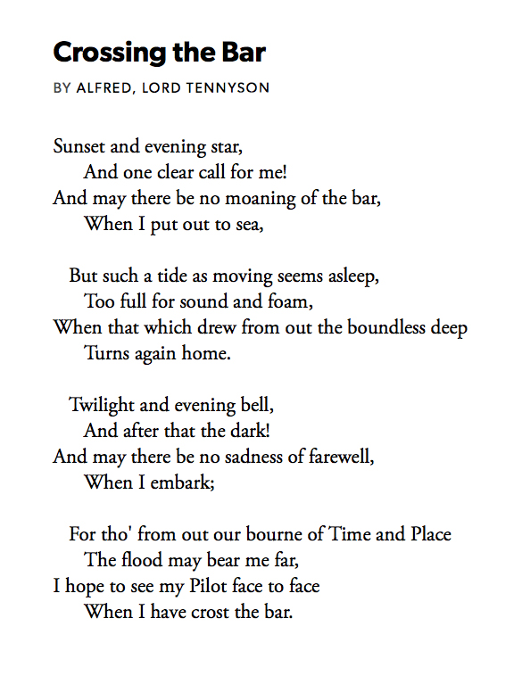 Samuel West On Twitter 367 Crossing The Bar By Alfred Lord Tennyson Read By Alexander Armstrong Xanderarmstrong Https T Co Htzfetjrs6 Pandemicpoems Https T Co W8gw6l5asu