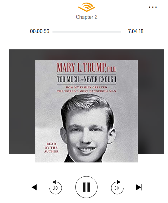Listening to Mary Trump read her new book on Audible! #MaryTrumpBook #TrumpLiesAmericansDie