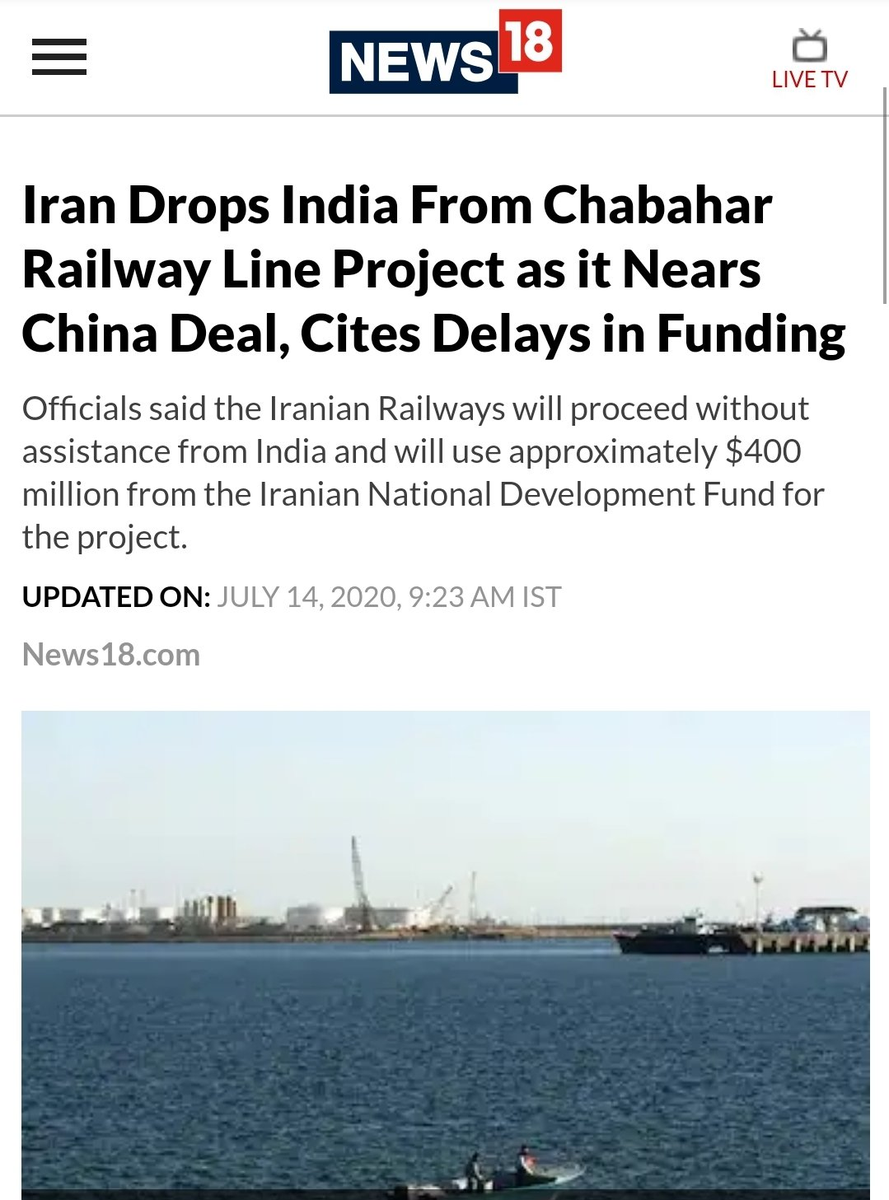 #Iran has decided to o 'drop India' from the  #Chabahar Railway Line Project,along the border with #Afghanistan, citing delays from the Indian side in funding and starting the project.  it is a big foreign policy failure for India due to modi #Hindutva ideology. pic.twitter.com/Ak58oVvMh6