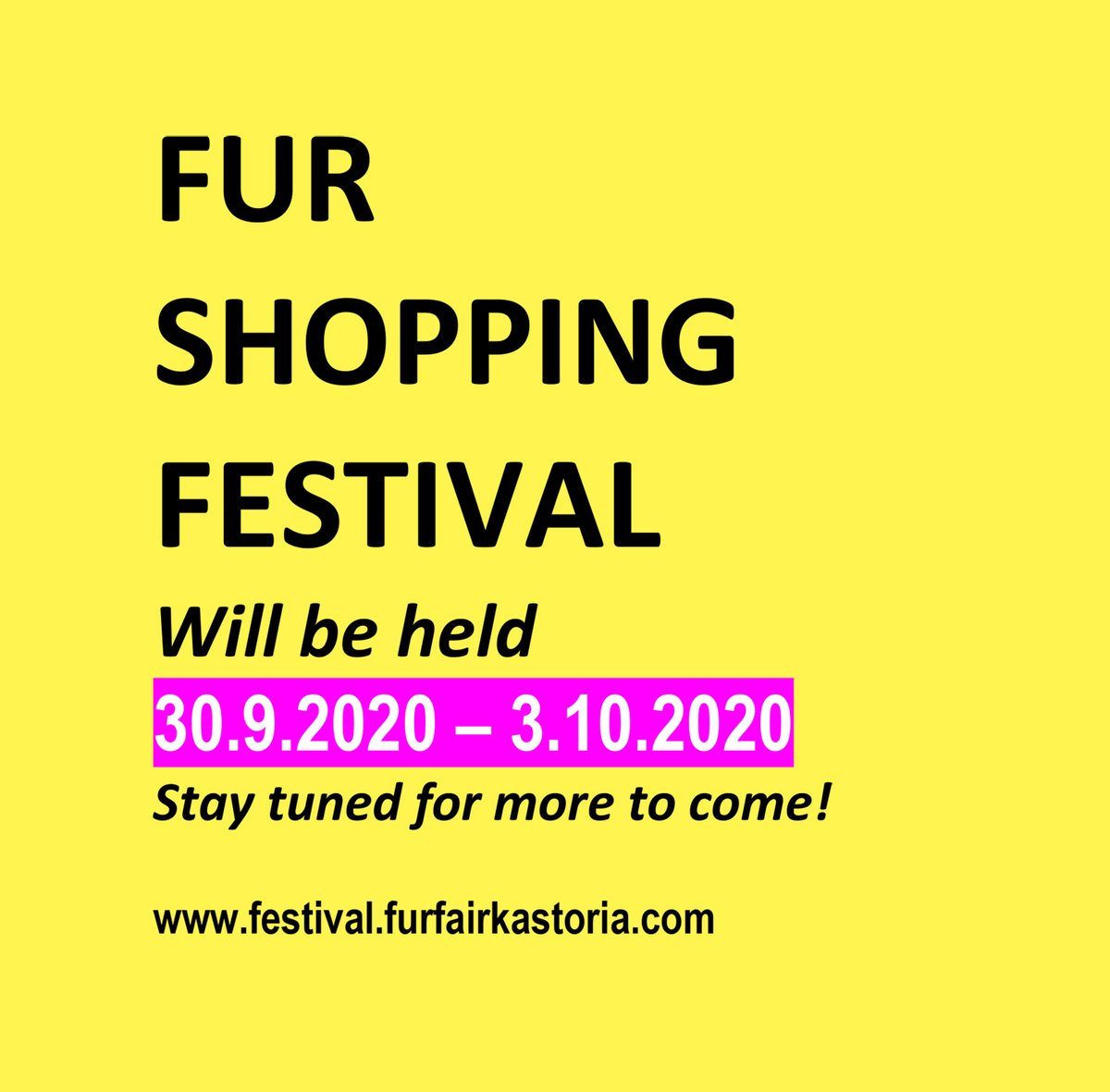 The 5th edition of FUR SHOPPING FESTIVAL, will be held 30.9.2020- 3.10.2020 at Kastoria International Exhibition Center, Kastoria-Greece. Stay tuned for more to come! https://t.co/6MOa8zESKD #furshoppingfestival #ootd #fur #fashion #шуба #мех #shoppingtherapy #ootn #sale https://t.co/oHxqZJ40RW