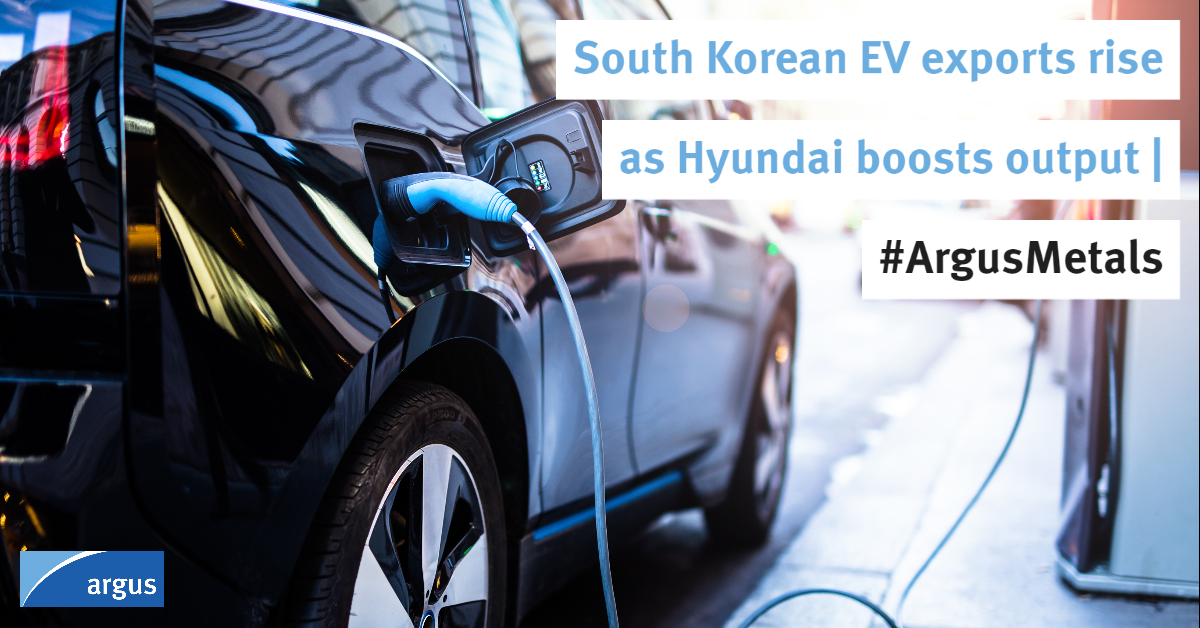 South Korea's electric vehicle (#EV) exports surged to an all-time high as @Hyundai_Global ramped up production of crossover models, with higher demand for nickel and other #battery metals   #ArgusMetals  Story: https://t.co/dT89HlxE1t  Automotive hub: https://t.co/8J174EJJIR https://t.co/N9qJpFxe54