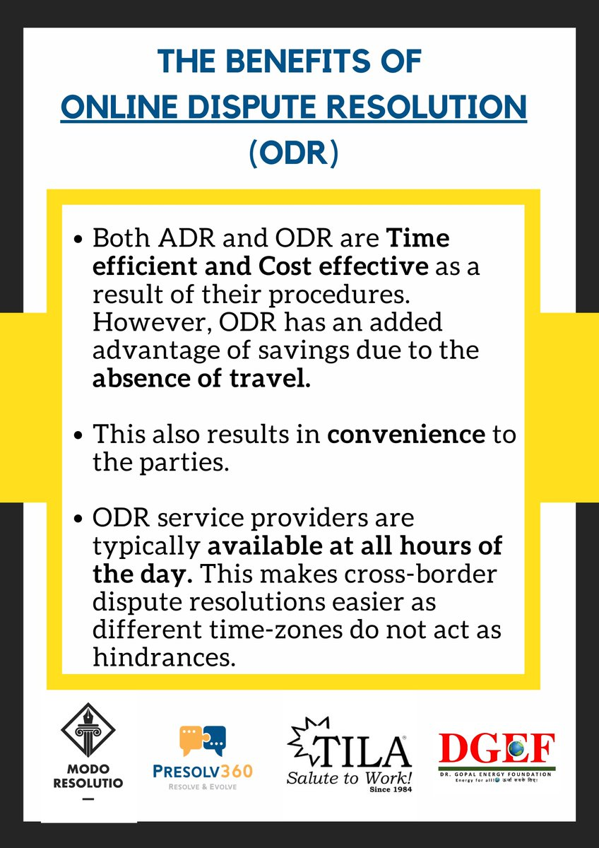 Online Dispute Resolution, also known as the 'future of justice', has manifold benefits over traditional dispute resolution forums. Here are a few of them..  #ODR #technology #law #legal #legaltechpic.twitter.com/plIm4ixm8w