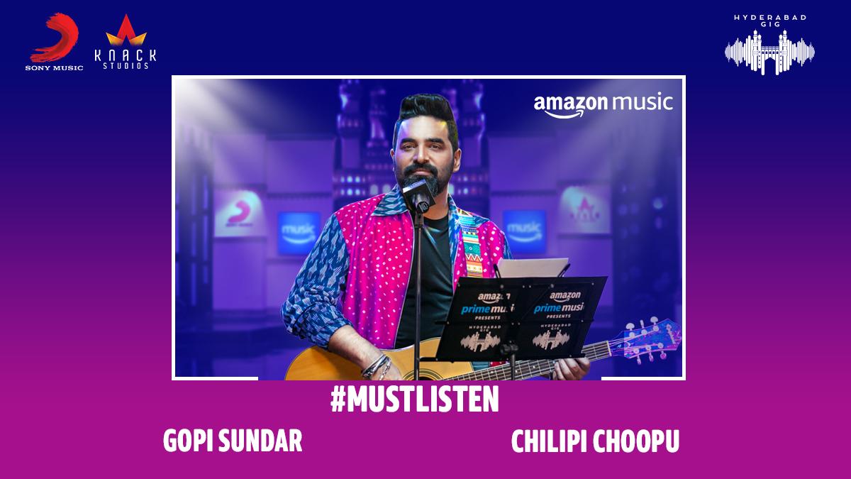 A wholesome, feel-good song that marks his debut in Telugu Pop! Listen to @GopiSundarOffl's latest creation - #ChilipiChoopu from #AmazonMusicHyderabadGig  Stream here 👇 📹  🎧 #FirstOn @AmazonMusicIN