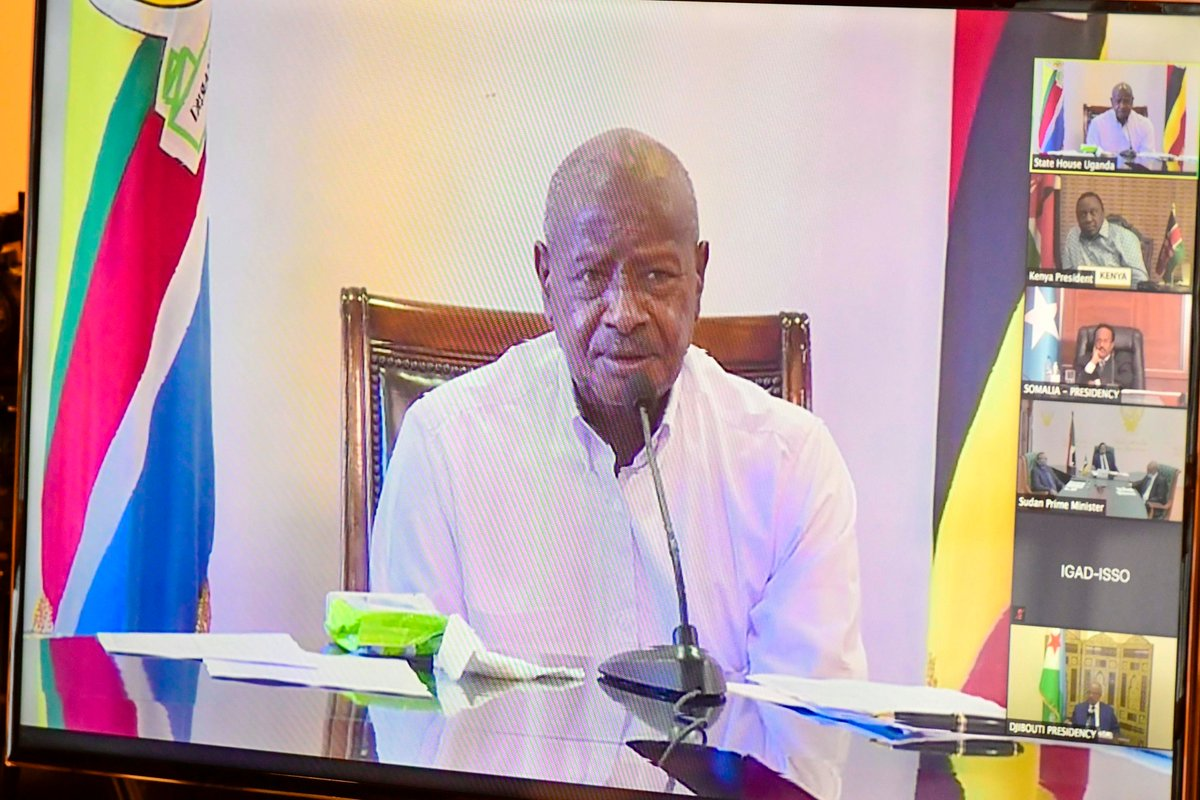 Through video conferencing, I joined fellow Heads of State from IGAD member countries for the 37th Extraordinary Summit chaired by Prime Minister of the Republic of Sudan H.E Dr. Abdallah Hamdok.