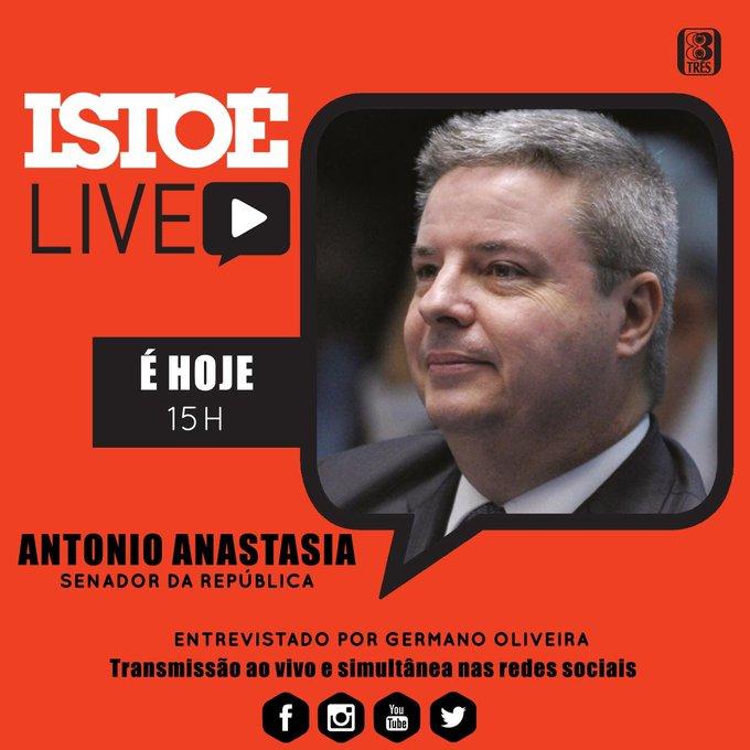 Hoje, às 15 horas, participo de live promovida pela Revista IstoÉ para falar sobre o nosso trabalho no