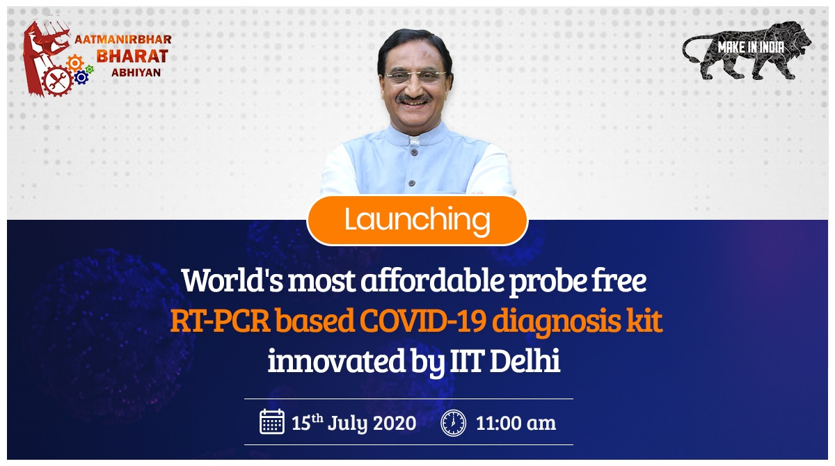 In line with the Hon'ble PM Shri @narendramodi ji's vision, I along with MoS for HRD Shri @SanjayDhotreMP, will be e-launching the world's most affordable probe free RT-PCR based #COVID19 diagnostic kit, COROSURE, developed in the labs of @iitdelhi tomorrow. #AatmaNirbharBharat https://t.co/SitWNbOQPl