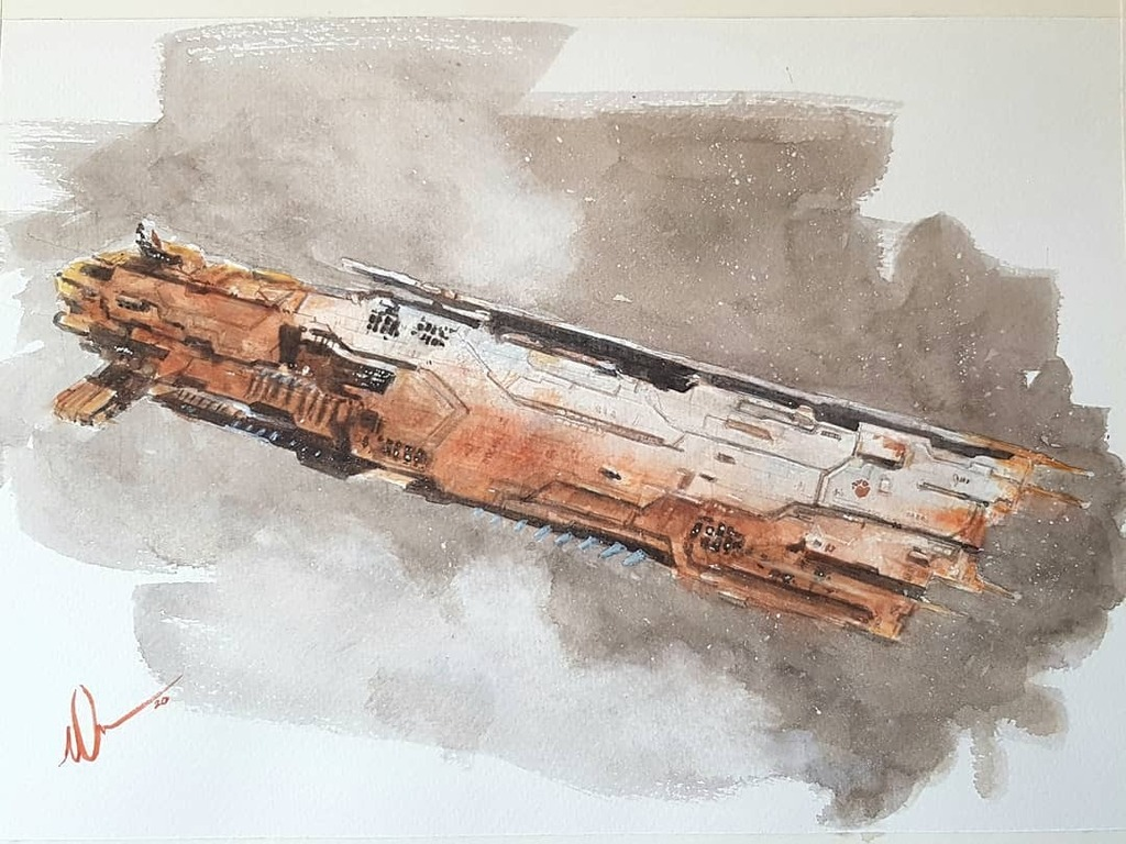 """""""In Rust We Trust"""" Hel Supercarrier, #eveonline Watercolour 12""""×9"""" cold pressed paper #tweetfleet #scifipainting #scifiartwork #scifidaily #dailyscifi #dailydraw #lloydgeorge #art #artofagamer #artist #traditionalart #contemporaryartist #contemporaryscifi #popularculture #ev…pic.twitter.com/A1KYX3dEuL"""