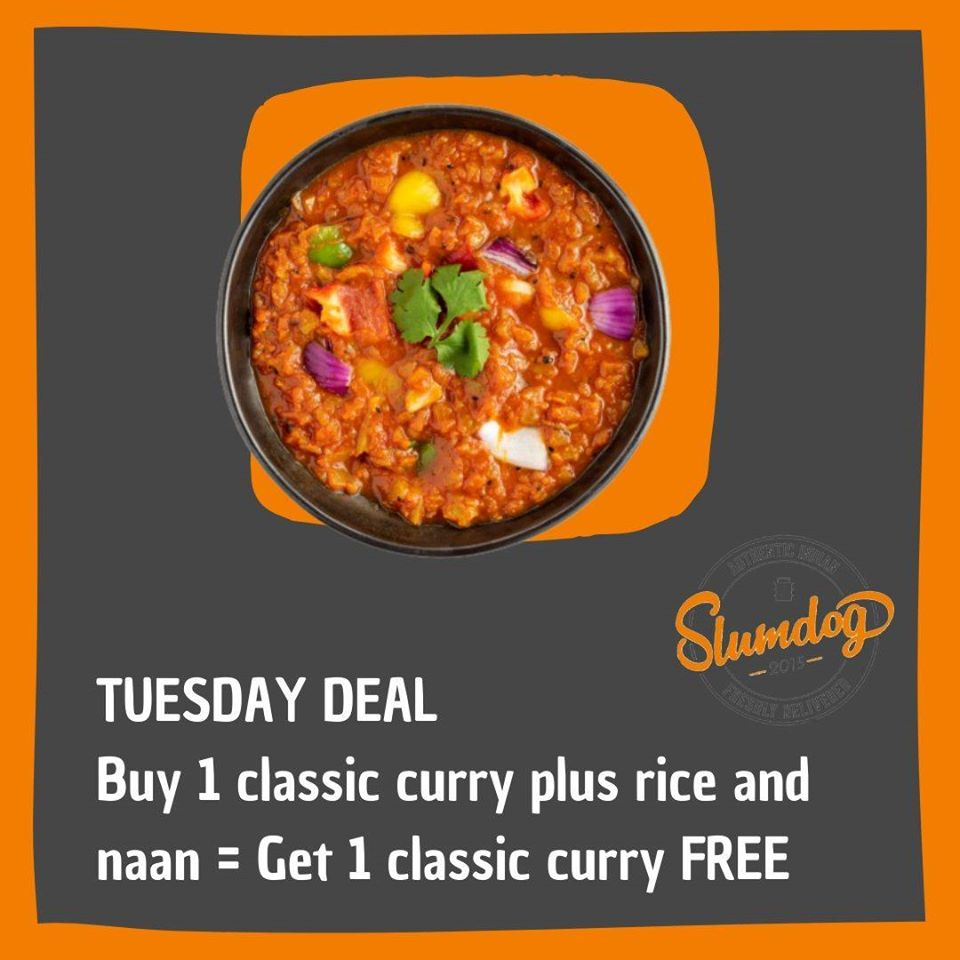 Tuesday Deal: Buy 1 classic curry plus rice and naan = Get 1 classic curry FREE ✅ Order online at   #slumdogdelivered #curry #Edinburgh #takeawayfood #indiantakeaway #foodlovers #foodies #Edinburghfood #indianfood #streetfood #indiandishes #curry