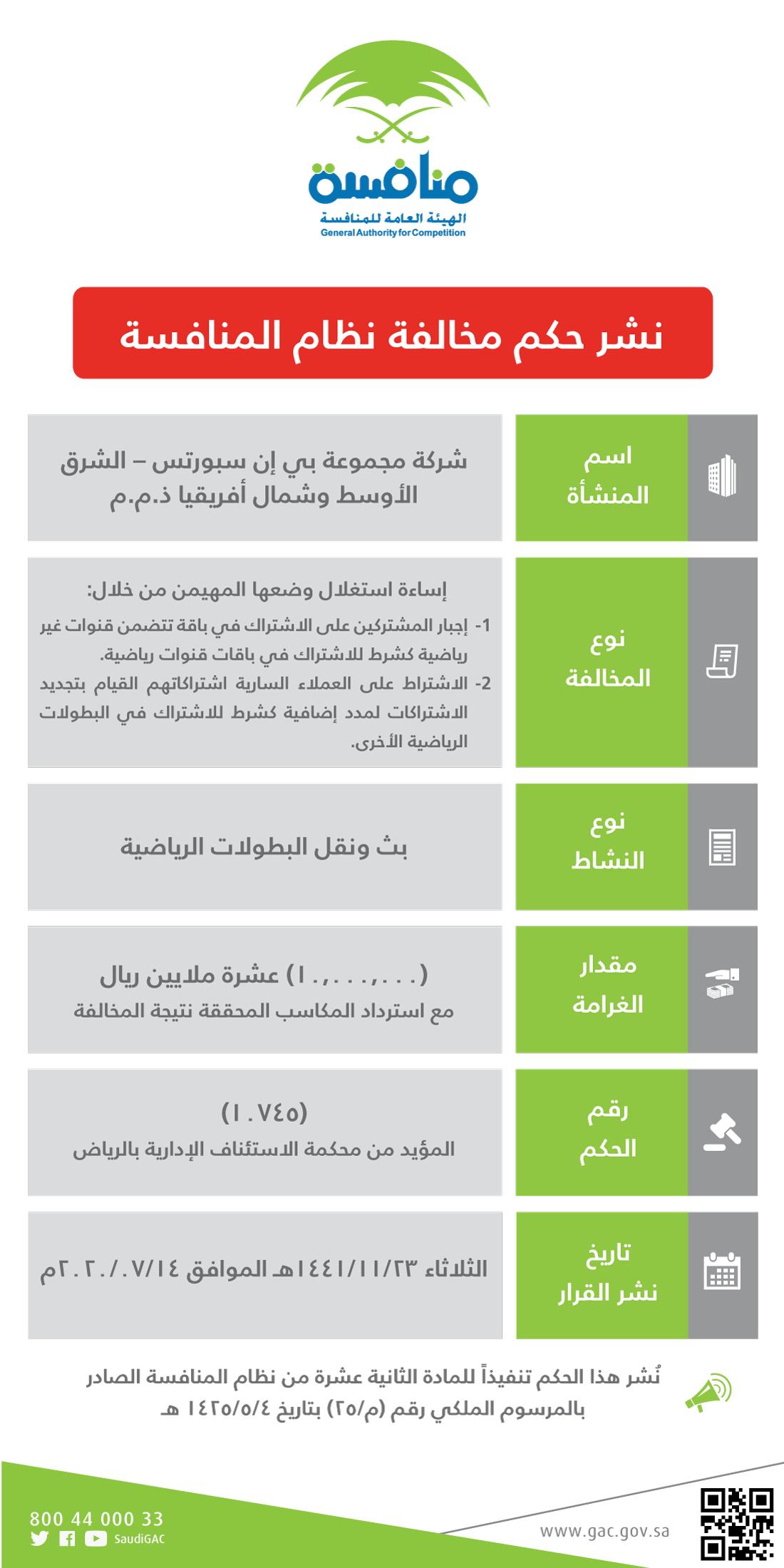 إلغاء ترخيص مجموعة بي إن سبورتس في السعودية نهائيا معلومات مباشر