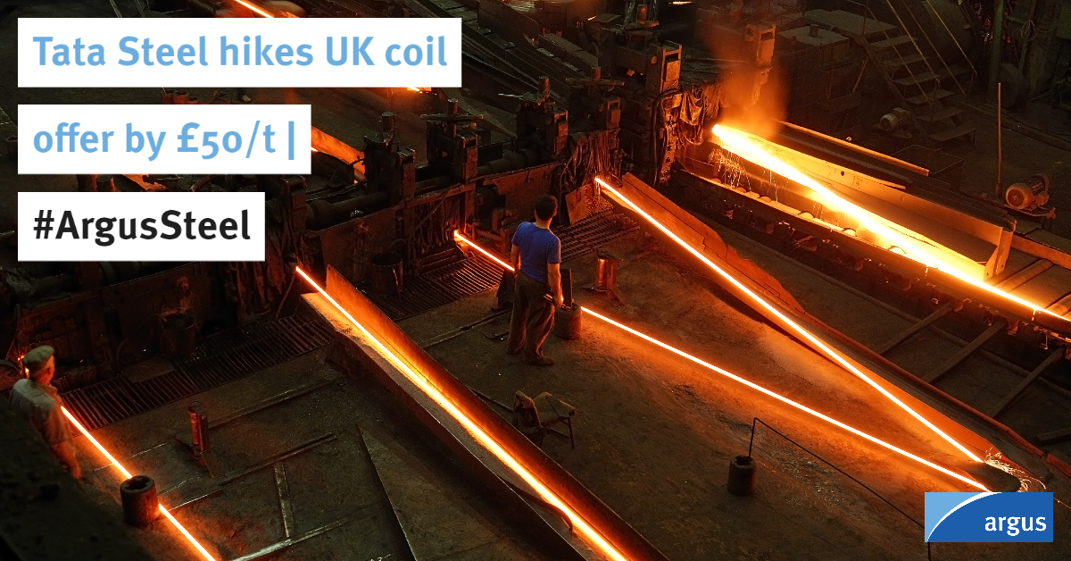 .@TataSteelEurope has added £50/t ($62.50/t) its coil prices for UK customers with immediate effect, according to a letter obtained byArgus   #ArgusSteel#hotrolledcoil#steelmills  Story by Colin Richardson: https://t.co/li71pBCBEX https://t.co/uyXsh457oW