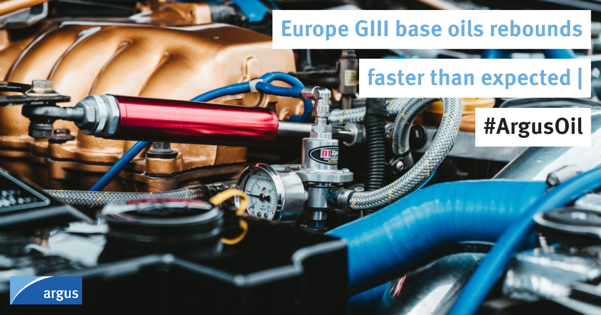 European Group III #baseoils demand has rebounded faster than expected over the past month amid a sharp pick-up in #engineoil change requirements following the easing of lockdown measures across the continent   #ArgusOil  Reports Catherine Caulfield: https://t.co/4QtJ5XUdLx https://t.co/2QmhmtYBYB