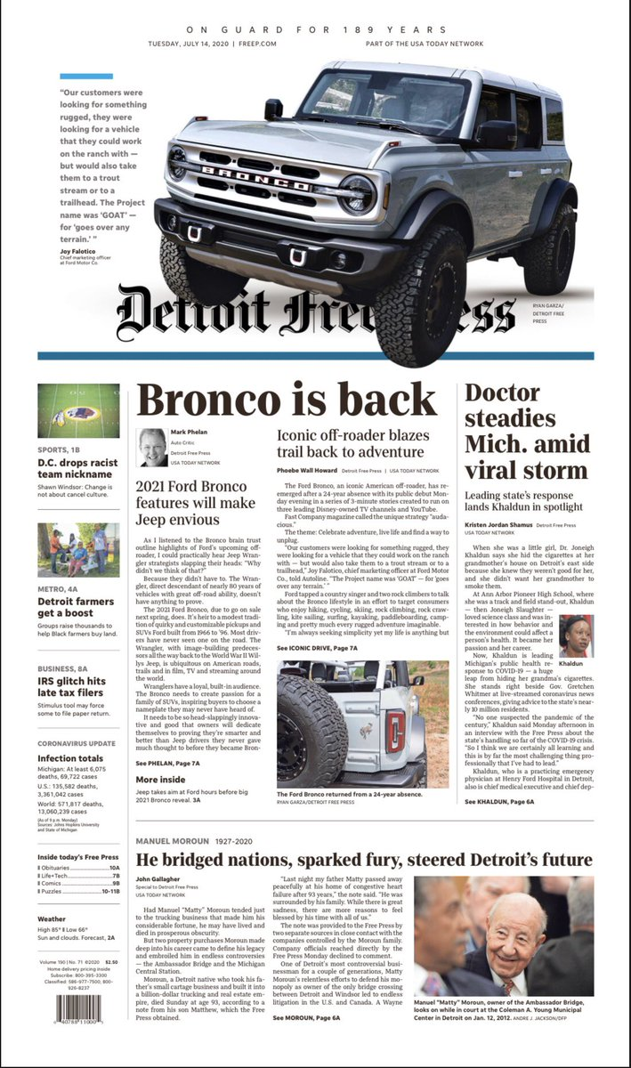 Clever design on today's @freep front page:
