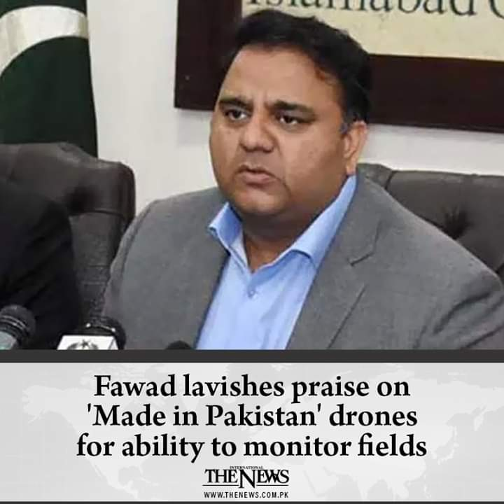 #Made in Pakistan Drone that would monitor fields.  Congratulations,  dear minister @fawadchaudhrypic.twitter.com/Ip4MlI3p29