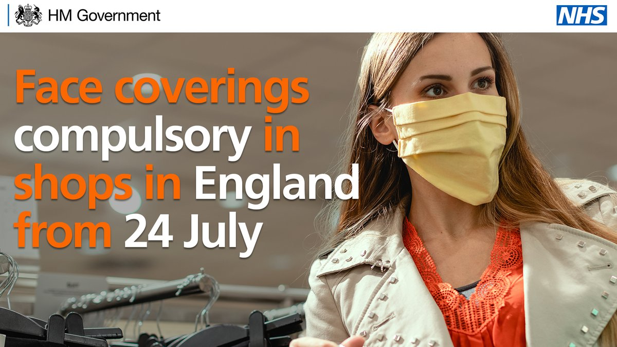 From 24 July, it will be mandatory to wear a face covering in shops and supermarkets. Exemptions include: ➡️young children ➡️people with breathing difficulties ➡️people living with a disability See @MattHancocks update to @UKParliament today: ➡️gov.uk/government/spe…