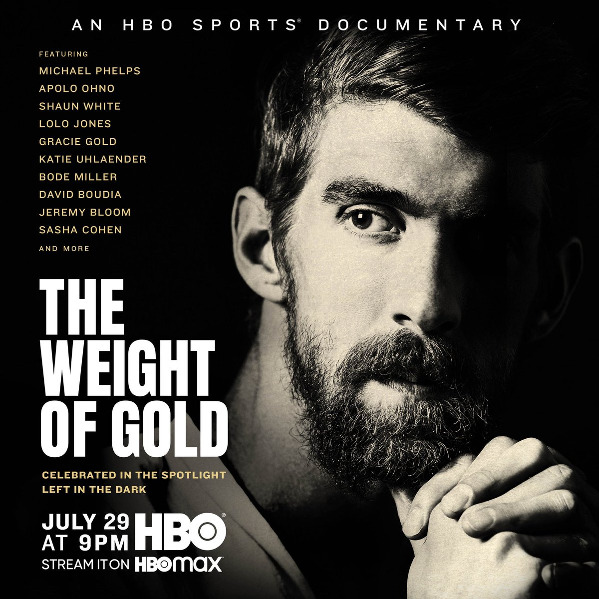 Celebrated in the spotlight, left in the dark. #TheWeightofGold premieres July 29 on @HBO