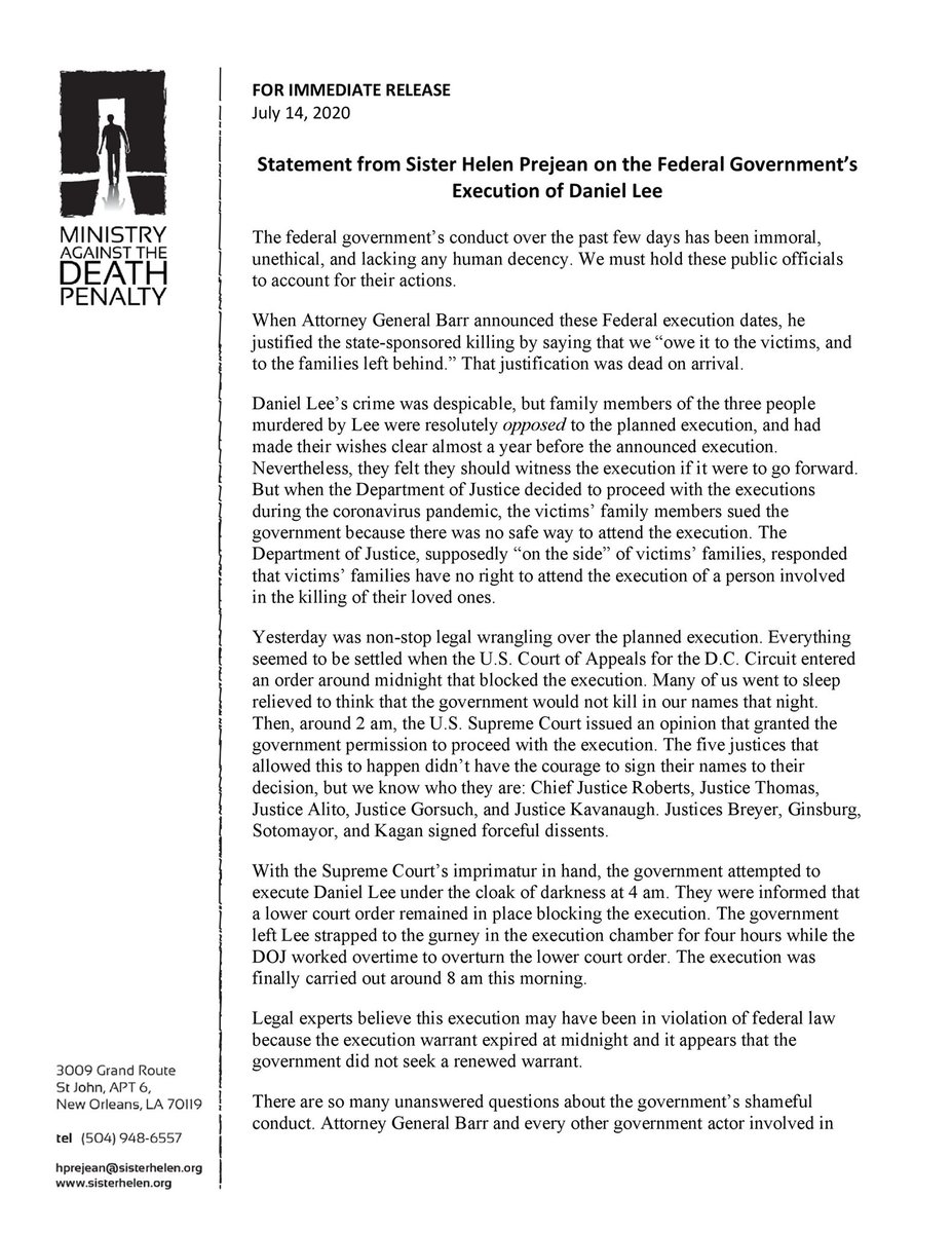 The federal government carried out an unethical and potentially illegal execution this morning. Attorney General Barr and every government actor involved in this travesty must account for their actions. I'm calling on Congress to launch an investigation and hold public hearings. https://t.co/BHLQWtQvgM