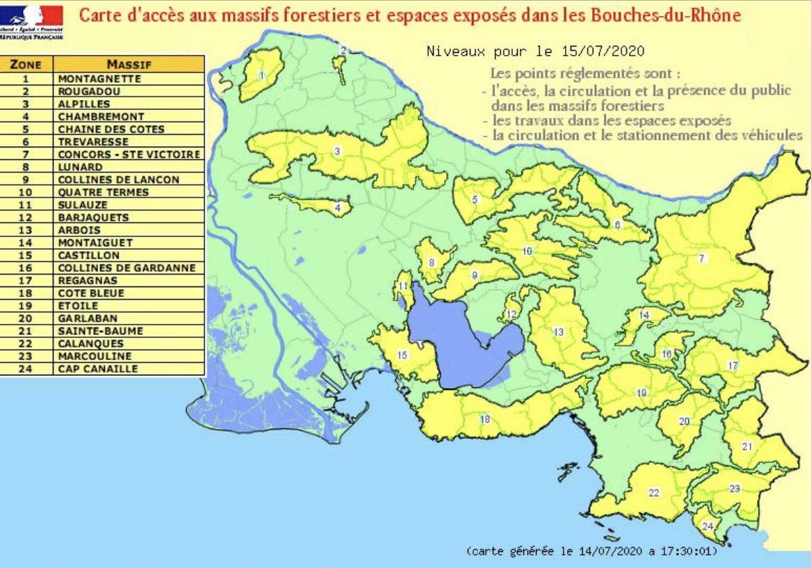 #feuxdeforet 🔥 : prudence ce mercredi 15 juillet 2020, l'ensemble des #massifs des #BouchesduRhône sont placés en vigilance #jaune. Les travaux sont interdits à partir de 13h. Restez vigilants 😉 https://t.co/qPZk3sHnCO