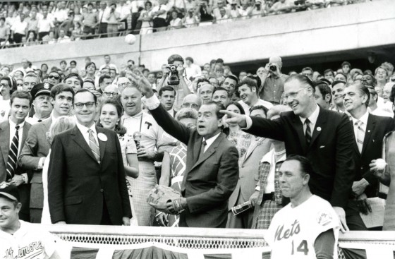 Nixon throws first pitch at All-Star Game, Cincinnati, 50 years ago today: #RNPL
