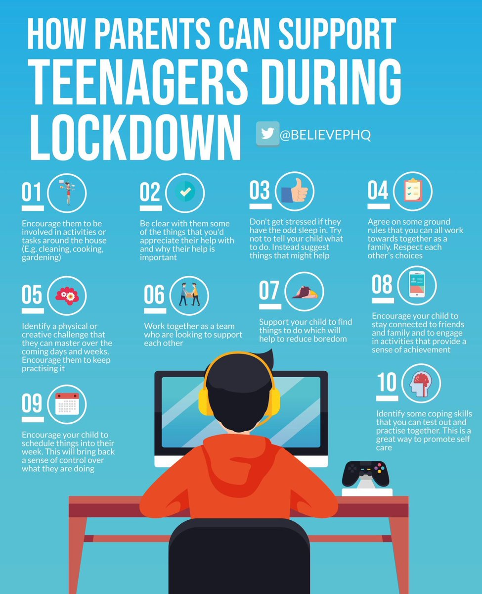 If you're a parent to teenagers, this @BelievePHQ infographic has some great ideas for supporting their wellbeing at this time. Thank you @GAOxfordshire  for sharing with us.😍 #teenagers #lockdown