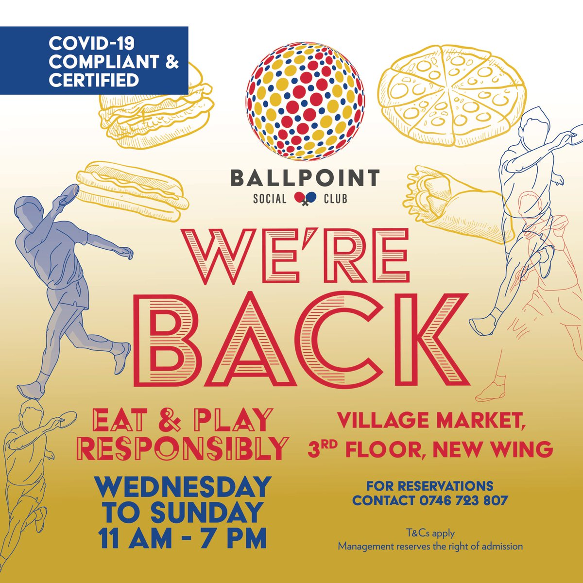 Ballpoint Social Club is back!!! 🎉🎉🥳 Come eat and play responsibly with us, Wednesday through Sunday from 11am to 7pm. COVID-19 Compliant & Certified 👌🎯🎲🏓 T's & C's apply #BallpointSocialClub #VMrecreation #Funatvm https://t.co/FwrVsfr4j4