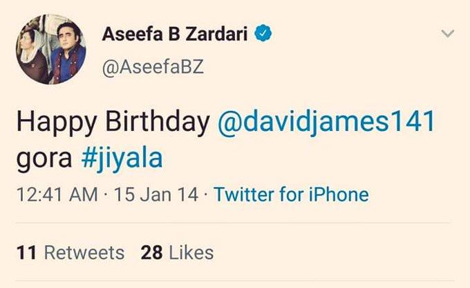 Happy Birthday To David James Gora. Jiyala by Aseefa Bhutto messageing