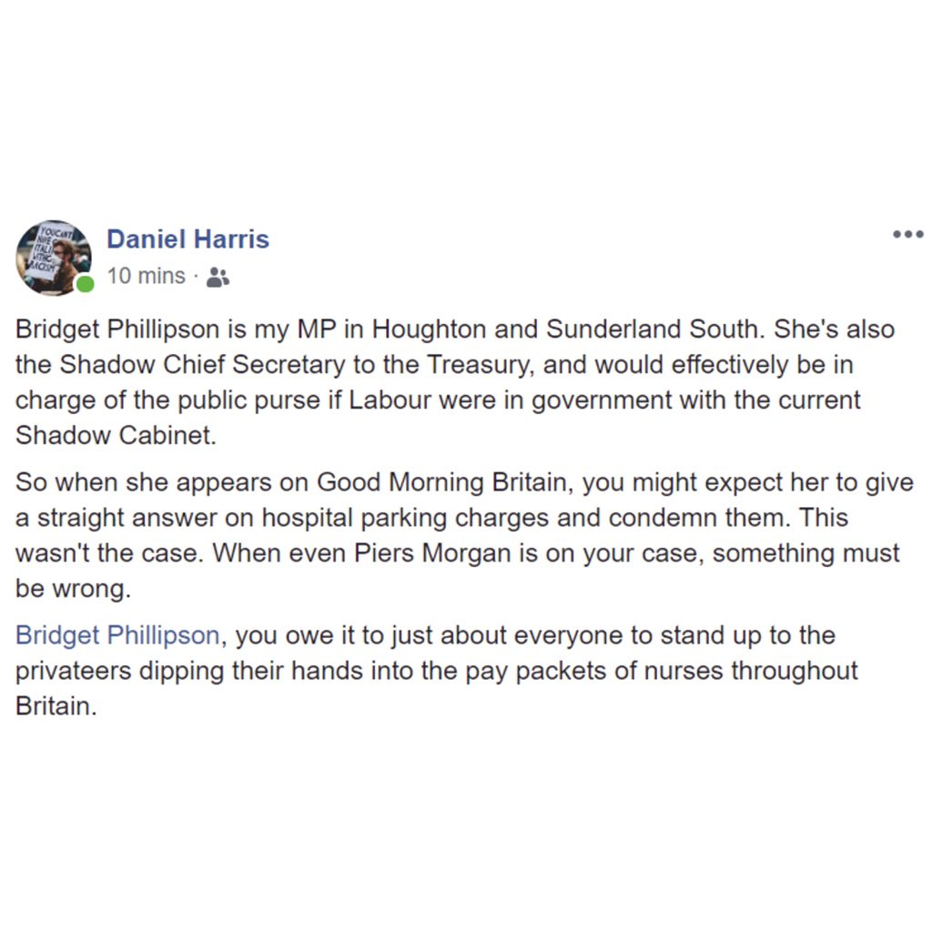 Socialist Appeal activist, Dan, has written to his local Labour MP, Bridget Phillipson asking why she has not come out in support of scrapping hospital parking charges for NHS workers. #clapforcarers #clapforthenhs 1/4 pic.twitter.com/O8qgofJ0pY