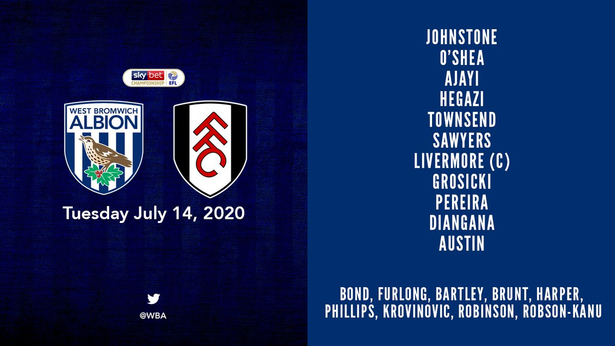 📋 Slaven Bilić makes two changes for today's clash with @FulhamFC. Ahmed Hegazi and Grady Diangana replace Kyle Bartley and Filip Krovinović. #WBAFUL | #WBA