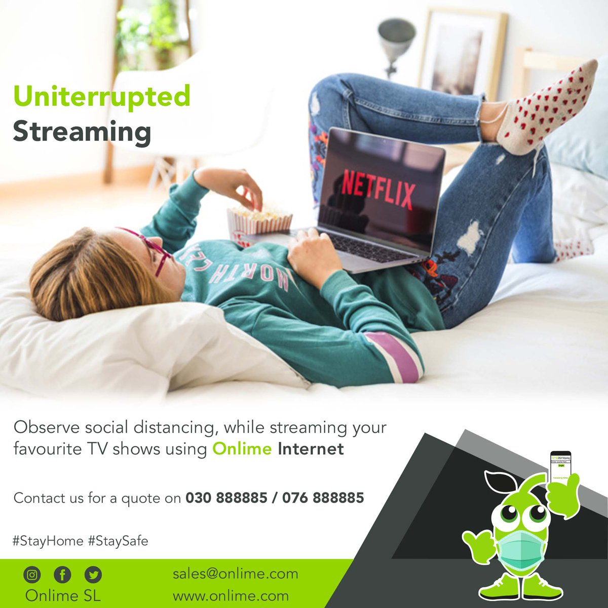 Time waits for no one and neither should you! Switch to #OnlimeInternet today and experience uninterrupted streaming! Call 076 888885 / 030 888885 for more info. #SierraLeone #Freetown #SaloneTwitter https://t.co/2lbgIuKDVM