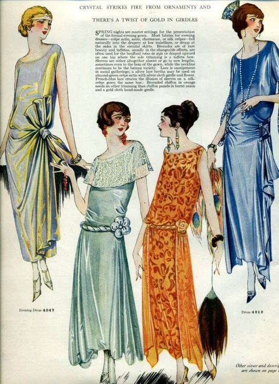 Fashion costume illustrations from the 1920s.