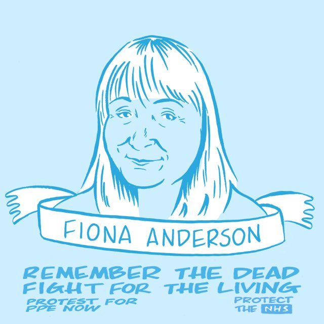 RIP Fiona Anderson, community staff nurse at the Grindon Lane Primary Care Centre in Sunderland  #portraitinblue #PPEfortheNHS #inmemoriam #wedemandppenow #ppe #nhs #protectthenhs #stayhome  #nhsheroes #covid19 #clapforourcarers #clapforthenhs #ppenow #peoplebeforeprofitpic.twitter.com/hacERE1cQs