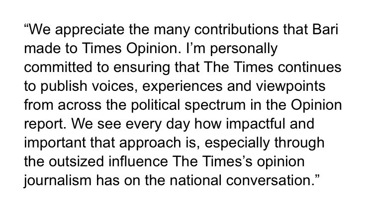 → @katiekings, acting editorial page editor at @nytopinion, to @NBCNews's @claireatki, RE: @bariweiss:
