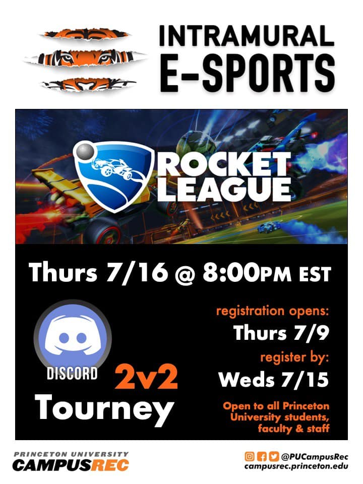 Join your Princeton peers in our 2nd Rocket League one-day tournament - Thursday, 6/18 at 8:00pm EST. pic.twitter.com/Q3BHu4NRAt