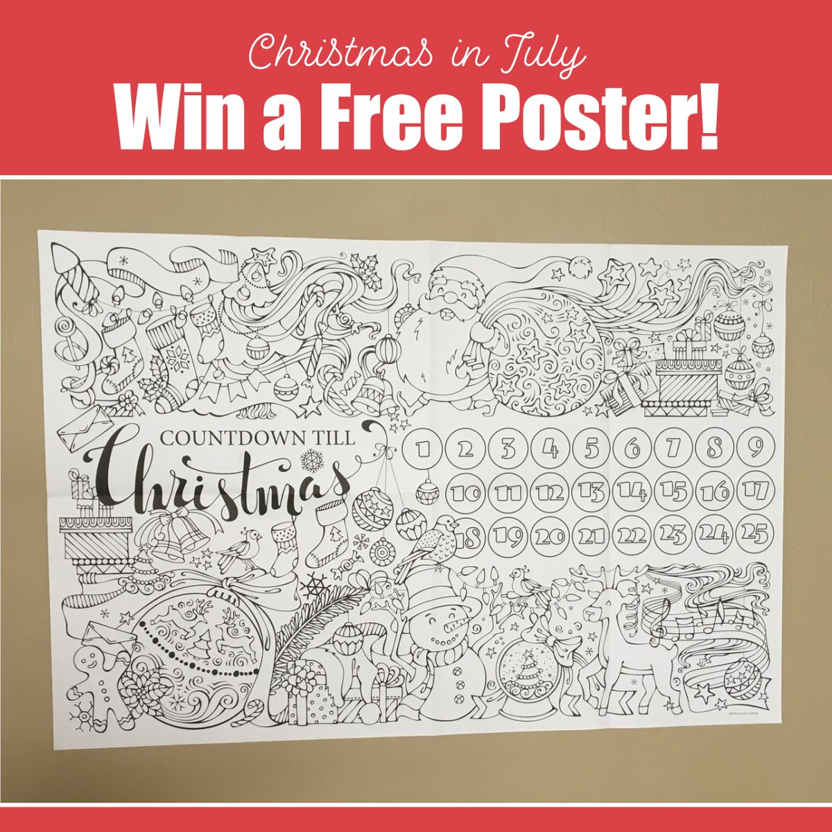 🎅Win a 36x24 Countdown Till Christmas colorable poster! To enter, retweet, or like this tweet (U.S. residents only). Ill make it a holly jolly Christmas (in July) for twenty; winners announced July 31. #win #giveaway #adventcalendar #christmasinjuly #adultcoloring #coloring