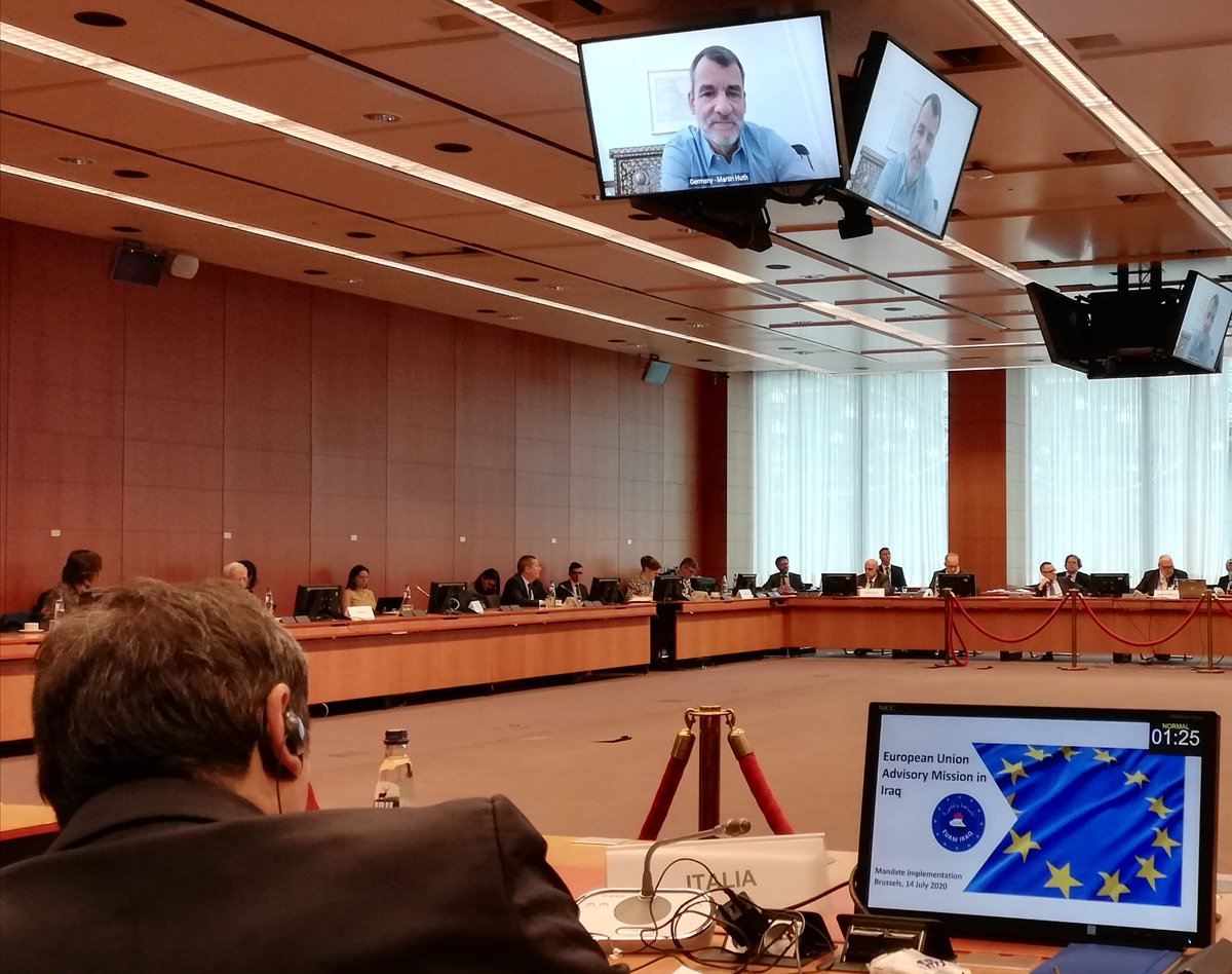 1/3.Today in PSC thorough discussion on the political scenario in #Iraq with EU HoM @MartinHuth and on @EUAMIraq with Head of Mission @buikchristoph. @ItalyinEU https://t.co/FaN8ZIH10t