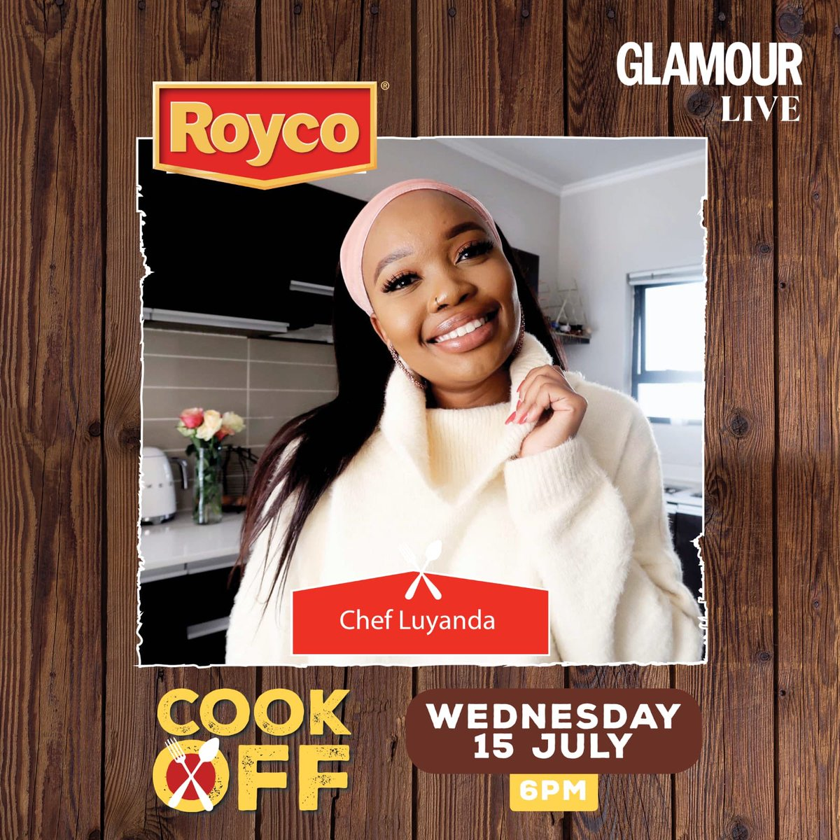 Join us tomorrow at 6PM SAST for a #GLAMOURLive with @Luyanda_Maf where we will be talking all things the Royco Cook-Off challenge! Which is taking place on the 23rd of July at 7pm CAT on the Royco South Africa's Instagram page. #RoycoSA  #RoycoCookOff https://t.co/BFdMMGh9Ks