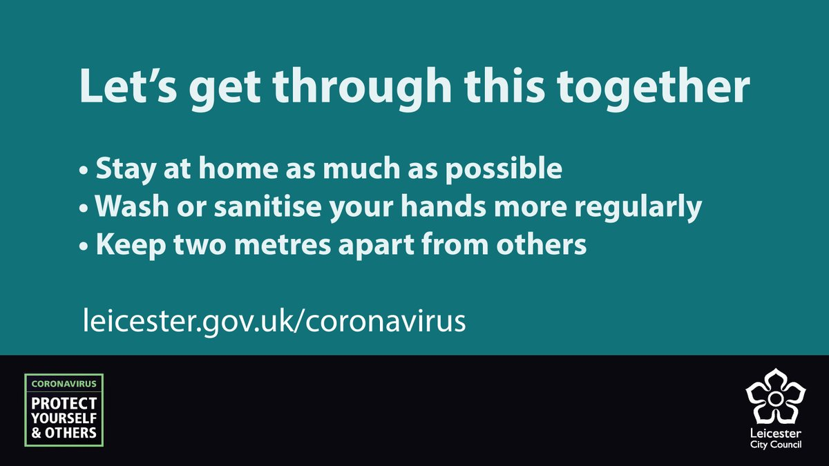We all need to do our bit during the #LeicesterLockdown. Lets make sure that we are all sticking to the restrictions so that we can all get through this as soon as possible. Find all of our #coronavirus information at leicester.gov.uk/coronavirus