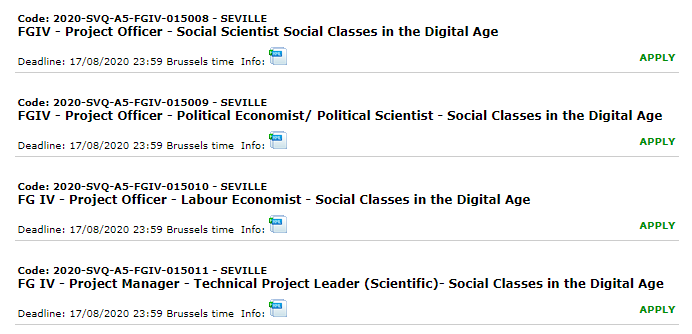 The @EU_ScienceHub Center for Advanced Studies is starting a new project on Social Classes in the Digital Age #DIGCLASS and hiring 4 research fellows #postdocs from different disciplines. Appl. deadline August 17th http://recruitment.jrc.ec.europa.eu/?site=SVQ and https://ec.europa.eu/jrc/en/working-with-us/jobs/vacancies…pic.twitter.com/mhThdUrntF